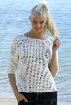 Familie Journal - strikkeopskrifter til hende Crochet Blouse, Knit Crochet, Knitting Patterns, Crochet Patterns, Big Knits, Summer Knitting, Pull, Free Pattern, Womens Fashion
