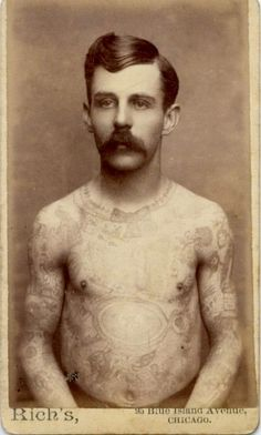 "ca. 1875, [carte de visite portrait of a bare chested Frank Howard, the ""American Tattooed Man""], Rich via Syracuse University Library, Special Collections Research Center, Ronald G. Becker Collection of Charles Eisenmann Photographs"