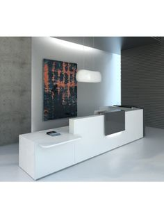 TERA L-Shape Countertop Reception Desk, White + Anthracite by MDD Office Furniture | SohoMod.com