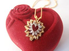 Diamond Heart Necklace Pendant 18k Yellow and White Gold