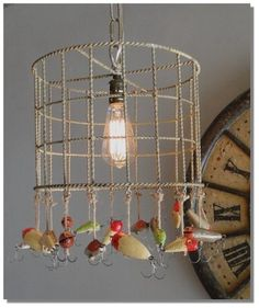 Fishing Lures Lodge Chandelier Old Antique Style Iron Wood Lot Ceiling Light | eBay