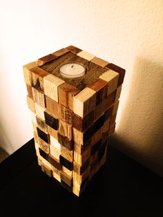 Large candle made from scraps of pallet wood!