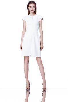Ralph Rucci | Resort 2015 | 07 White zipped short sleeve mini dress