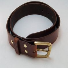 Handmade 1 1/2 Brown Leather Belt Custom Fitted by WrightOnDesigns