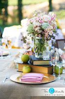 Beautiful Shabby Chic Centerpiece with books, mason jars, flowers and apples.