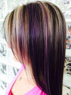 Blonde highlights and purple lowlights