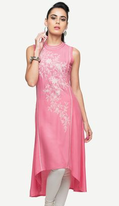 Pink is luscious. Pink is dewy. Perhaps that's why this embroidered rayon kurti should be your pick.