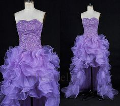 Custom Beaded Hi Low Purple organza Prom Dresses Fashion Evening Gowns Formal Party Dress Cocktail Dress Dress Party Evening Dresses on Etsy, $138.00