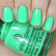 China Glaze Treble Maker | Summer 2015 Electric Nights Collection | Peachy Polish #green