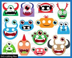 Monstres Heads Props v2 - Cutting Files SVG JPG Digital Graphic Design Instant Download Commercial Use Photo Booth Party Funny Fun (00930) Craft Supplies & Tools cartoon prop booth kid birthday party photobooth hat print alien little mascot funny cool smile beast creature clip art clipart svg jpg svg Funny image halloween photo mask head scary horror monster svg props silhouette cameo svg space prop Canvas & Surfaces Paper Collage Sheets Image Halloween, Halloween Photos, Adobe Reader, Beast Creature, Monster Birthday Parties, Monster Face, Art Party, Party Fun, Scrapbooking