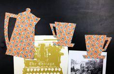 Fabric Magnets  Retro Coffee Pot Coffee Cups & by HawthornBramble, $7.00
