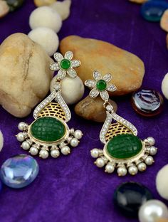 Charm of Green & Silver Studs ❥ Stylish Designer Beautiful #Earring of AD Stones Shop Now☛ http://www.styyo.com/charm-of-green-&-silver-studs/pid=MjAz