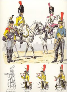 French; Cuirassier Trumpeters by Lucien Rousselot