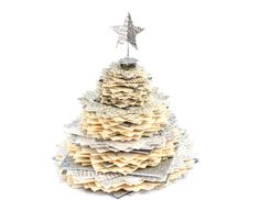 Christmas Decoration - Upcycled Book Page Tree - Silver Glitter, Cream and White Paper Holiday and Winter Decor - from: Anthology on Main