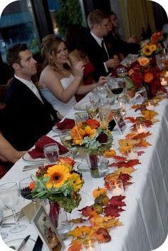 a herbstdeko Amanda & Scott's Fabulous Fall Wedding Wedding Flower Guide: Why Wedding Flowers Are Im Fall Wedding Centerpieces, Fall Wedding Flowers, Autumn Wedding, Wedding Bouquets, Rustic Wedding, Fall Flowers, Wedding Dresses, Wedding Colors, Fall Wedding Table Decor
