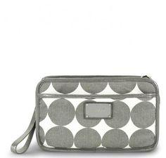 """OOYOO diaper bag """"Bella"""" dots dove gray crossbody bag - front view"""