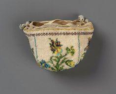 Round drawstring bag French ca. 1725-1750
