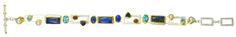 Sterling silver bracelet with blue rainbow moonstone, blue agate, pearl, rhodolite garnet, iolite, blue topaz, and 22K gold vermeil