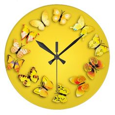 Yellow Butterfly Novelty Wall Clock
