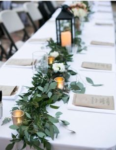Rehearsal dinner tablescape idea; simple, cost-effective & cohesive to the overall wedding day decor too!