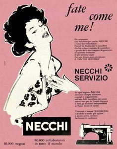 Jeanne Grignani and advertisement - Italian Ways Advertising, Ads, Beautiful Posters, Vintage Sewing, Singer, Haberdashery, Illustrations, Crafty, Laminas Vintage