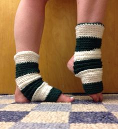 Yoga Socks in Green and White Stripe Acrylic  by CarrotCreations, $10.00