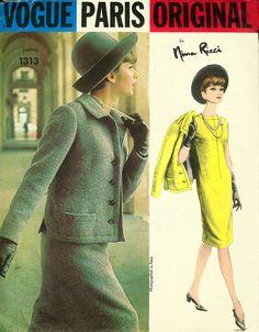 1960s Designer Nina Ricci One Piece Dress and Jacket  Vogue Paris Original 1313 Vintage 60s Mod Sewing Pattern Size 18 Bust 38 Uncut