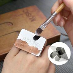 IMAGIC Nail Art Maquillaje Cosmético Paleta de Mezcla de Pintura de Acero Inoxidable Anillo de Herramienta