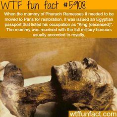 Pharaoh Ramesses ll has an Egyptian passport - WTF fun facts