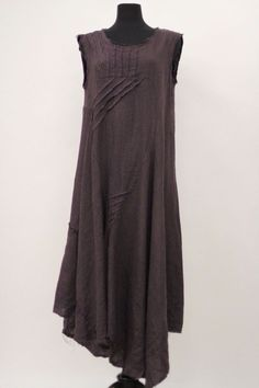 LA BASS MADE IN ITALY SUMMER LINEN BALLOON BUBBLE TUNIC SLEEVELESS DRESS PLUM #LABASS