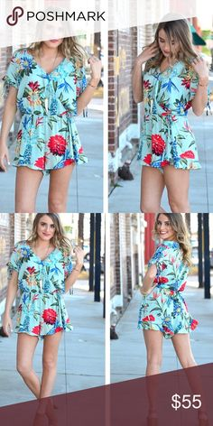 """Floral Romper ⚡️COMING SOON⚡️ Gorgeous floral print loose fitting romper that just speaks """"summertime."""" Small, medium, large will be available. Available next week. Check back! Infinity Raine Shorts"""
