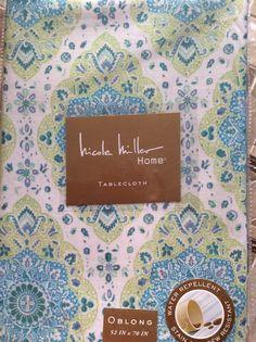 Ralph Lauren Ashwood Aqua Tablecloth - Floral -- 60\