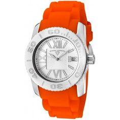 Reloj Swiss Legend Commander Lady SL-10114-02-ORGcon caja de acero inoxidable pulido y pulsera de caucho color naranja. #relojes #watches