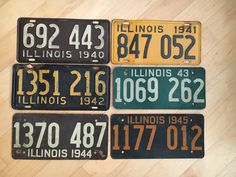 Complete decade set of 1940s Illinois plate  License Plate by SeriouslyVintageAZ on Etsy