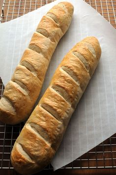 Crusty French Bread (Mixed in a Bread Machine). Good visuals for forming loaf so it looks pretty :)