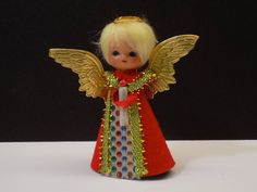 Mid Century Vintage Blond Haired Miniature Angel Feather Christmas Tree Topper | Collectibles, Holiday & Seasonal, Christmas: Modern (1946-90) | eBay!