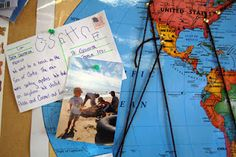 Each child was asked to take a postcard home and fill it out with a travel experience @ Peregrine School.