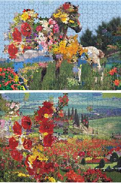 Flowers and skies were taken out of over 40 store bought puzzles and combined to form a series of spectacular landscapes. Although puzzle pieces are unique and can only fit into one place within a puzzle they are interchangeable within a brand    -Kent Rogowski