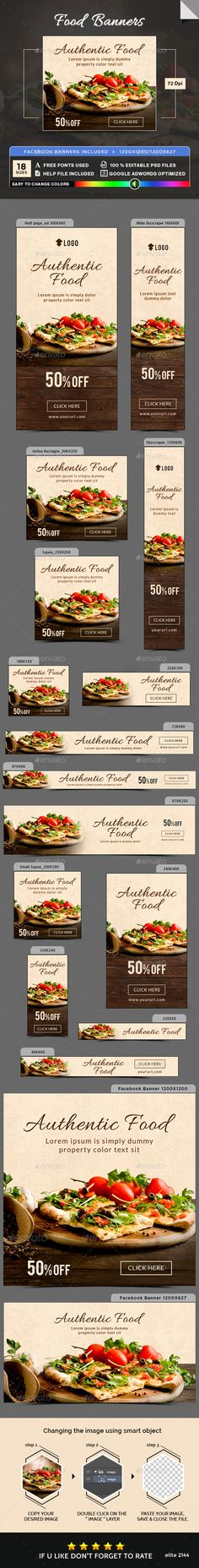 Food Banners — Photoshop PSD #flat design #deal • Available here → https://graphicriver.net/item/food-banners/19489668?ref=pxcr
