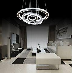 LEDNut Modern Unique 3-Rings Design LED Crystal Chandelier Pendent Chandelier Ceiling Light Fixture for Living room, bedroom (15.7''+23.6''+31.5'') - - Amazon.com