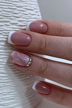 Wow Wedding Nail Ideas ★ nail ideas french with marble pattern and silver rhinestones aelita_manik_ufa Simple Gel Nails, White Tip Nails, French Manicure Nails, French Tip Nails, Nails To Go, Love Nails, Pretty Nails, Hair And Nails, Nail Tip Designs