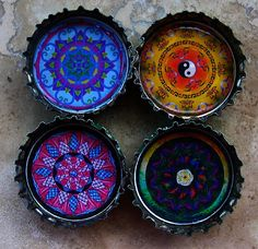I know these are ashtrays, but I've done tiny painting and would love to do some magnets like this using bottlecaps.