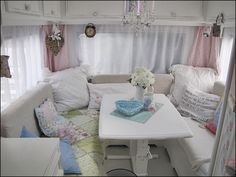 Camping in Vintage Chic Style! Motor home make over - If not in a camper put in a small house in a dining alcove - super cool, and goes with the 'camper kitchen' I like. Would work wonderfully in small or tiny home......