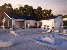 I huset Hovås från Myresjöhus får du en nära kontakt med trädgården och dina uteplatser. Rymligheten är stor i denna villa med sommarhuskänsla.