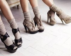 Slouchy socks with soft leather sandals look cute and comfy for winter, then could use again in the summer (Burberry Prorsum SS10 heels)