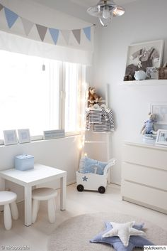 The LuxPad - Children's Bedroom Decor Ideas Alex Gladwin blue bedroom baby bunting kids room inspiration Baby Bedroom, Baby Boy Rooms, Baby Boy Nurseries, Nursery Room, Girls Bedroom, White Nursery, Baby Boy Bedroom Ideas, Kids Rooms, Nursery Decor