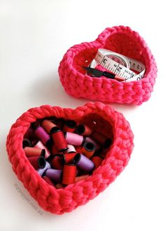 Crochet up some cute heart shaped baskets!! Cute for the littles room for her future little Collectables... Or at valentines day for candies... So many ideas