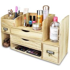 Home Office Supplies Command Centers Office Supplies Organize Ikea Info: 8195370453 Office Supply Organization, Desktop Organization, Makeup Organization, Wooden Makeup Organizer, Adjustable Desktop, Make Up Organiser, Woodworking Projects Diy, Storage Shelves, Decoration