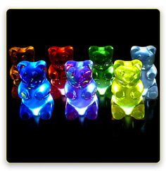 "GummiLight by Jellio, $125.00 each or $500.00 for a set of five. ""But at night, the tiny LED's in their butts turn them into the coolest lights you could ever own!"" They're battery-powered, though, and I would've preferred an AC cord."