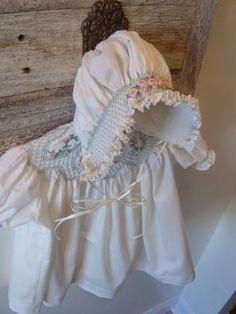 Babycakes  Smocked Bonnet for Sizes Newborn 3 by MyFireflyGlen, $25.00